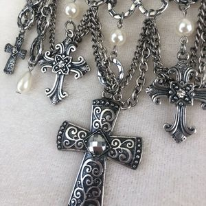 Jewelry - Dangly Pearl Cross Charm like Necklace